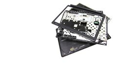 A broken old Computer laptop and notebook crash. Concept Laptop disassembling in repair shop isolated white background copy space royalty free stock images