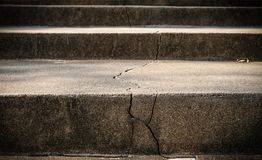 Broken old concrete staircase with cracked background stock image