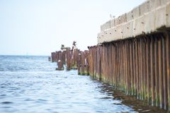 Broken old pier. Royalty Free Stock Photos