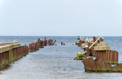 Broken old pier. Royalty Free Stock Photography