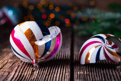 Free Broken Old Vintage Christmas Ball On Wooden Table Stock Image - 77430071