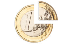 Broken one euro coin Royalty Free Stock Photography