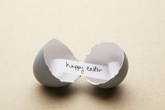 Broken Open Egg With Happy Easter Message Inside Stock Photo