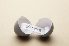 Broken open egg with you're a good egg message inside Royalty Free Stock Images