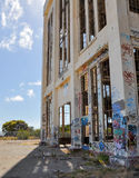Broken Open and Tagged: Old Power House Ruins Royalty Free Stock Images