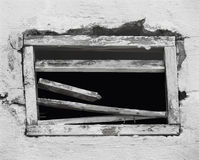 Broken opening in an old wall. Royalty Free Stock Image