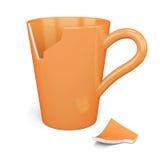 Broken orange mug  on white background. 3d rendering Royalty Free Stock Photo