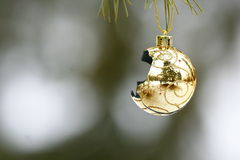Broken ornament. A golden ornament lies broken after the Christmas Stock Photos