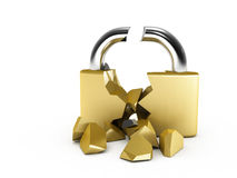 Broken padlock. Image generated in 3D application. High resolution image Royalty Free Stock Photo