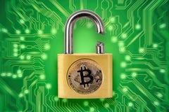 Broken padlock with bitcoin logo Stock Images