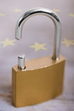 Broken padlock with eu flag Stock Photo