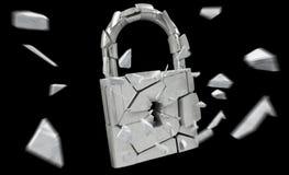Broken padlock security 3D rendering. Broken padlock security on black background 3D rendering Royalty Free Stock Photography