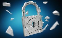 Broken padlock security 3D rendering. Broken padlock security on blue background 3D rendering Royalty Free Stock Image