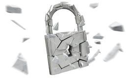 Broken padlock security 3D rendering. Broken padlock security on white background 3D rendering Stock Photography