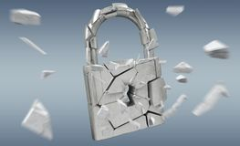 Broken padlock security 3D rendering. Broken padlock security on grey background 3D rendering Stock Photography