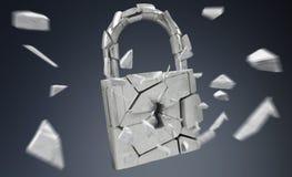 Broken padlock security 3D rendering. Broken padlock security on grey background 3D rendering Stock Photo