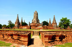 Broken Pagoda in Ayutthaya 4. Broken Pagoda in Wat Chaiwatthanaram, Pak Nok river, Ayutthaya, Phra Nakhon Si Ayutthaya, Thailand Stock Photo