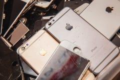 Broken panels and screens of iPhone phones stock photo