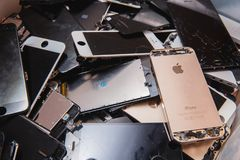 Broken panels and screens of iPhone royalty free stock photo
