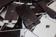 Broken panels and screens of iPhone stock photos