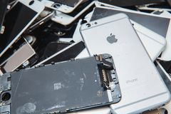 Broken panels and screens of iPhone stock photography