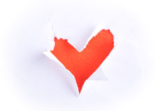 Broken paper with heart shape Royalty Free Stock Photos