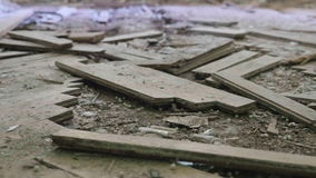 Broken parquet on floor in the abandoned hospital. Smooth and slow dolly shot stock video