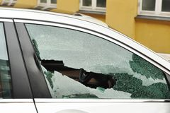 Broken passenger window Royalty Free Stock Image