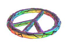 Broken peace sign of war. Isolated shattered peaceful symbol rainbow color. Meaning war, conflict, violent, stress or disbelief. PNG with transparent background Stock Image