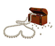 Broken pearl necklace and a chest Royalty Free Stock Photos