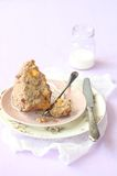 Broken Pecan Muffin with Peaches and Streusel Topping Royalty Free Stock Photos