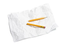Broken Pencil and Crumpled Paper Stock Images