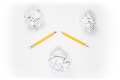 Broken Pencil and crumpled paper on white background Stock Photography
