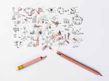 Broken Pencil with drawing graph Royalty Free Stock Images