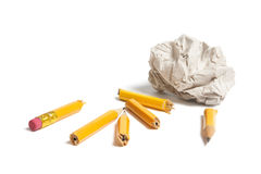Broken Pencil Pieces and Paper Ball Royalty Free Stock Photography