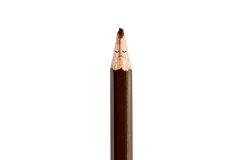Broken pencil and unsmiling on white Royalty Free Stock Image