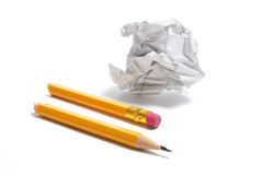 Broken Pencil and Waste Paper Stock Images
