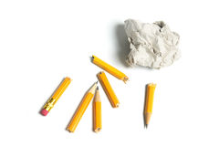 Broken Pencils and Paper Ball Stock Image