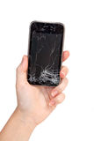 Broken phone in a hand Stock Image