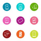 Broken phone icons set, flat style. Broken phone icons set. Flat set of 9 broken phone vector icons for web isolated on white background stock illustration