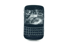 Broken phone isolated on white Stock Photos