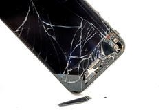Broken phone screen. Photo of the Broken phone screen stock photo