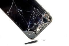 Broken phone screen Stock Photo