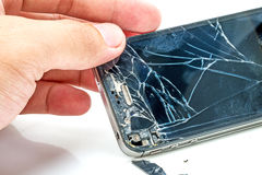 Broken phone screen. Photo of the Broken phone screen royalty free stock photography