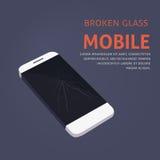 Broken Phone Screen Repair. Vector illustration Stock Photography
