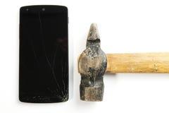 Broken phone screen Royalty Free Stock Photo