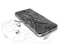 The broken phone. The broken telephone with a headset and a wire on a white background Stock Image