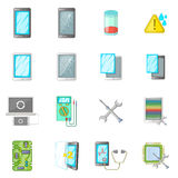 Broken phones fix icons set, cartoon style Royalty Free Stock Image