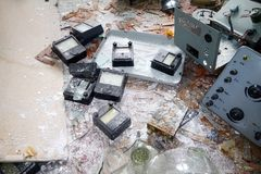 Broken physical devices in room Royalty Free Stock Photography