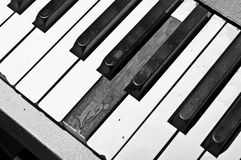 Broken Piano Keyboard. Piano keyboard with broken ivory covering on one key Royalty Free Stock Images